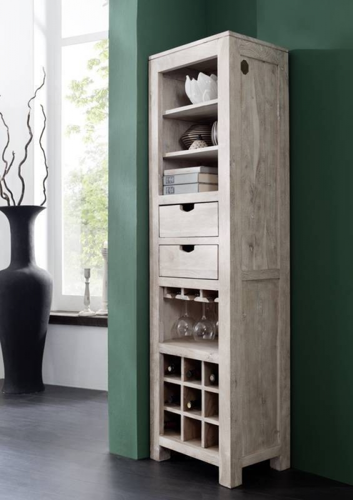NATURE WHITE regál na víno #51 lakovaný agátový nábytok