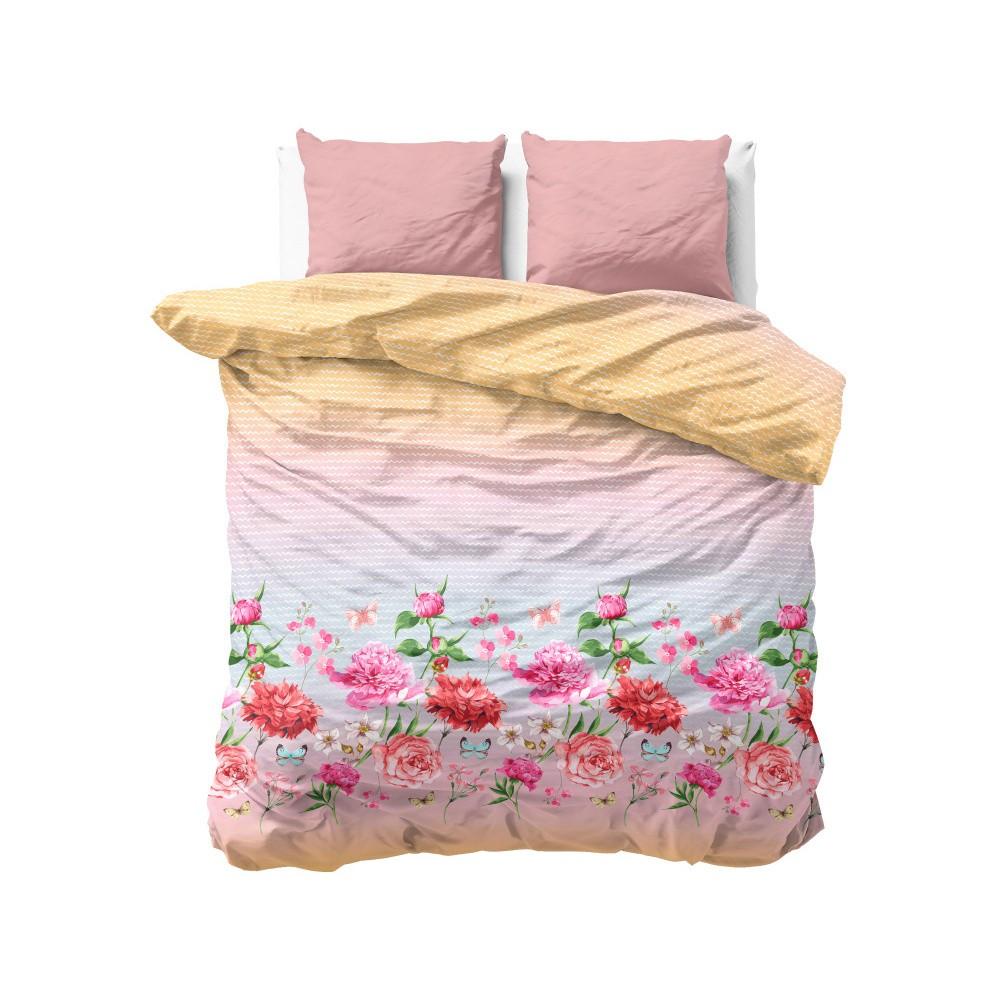 Ružovo-oranžové obliečky z mikroperkálu Zensation Bright Flowers, 240×220 cm