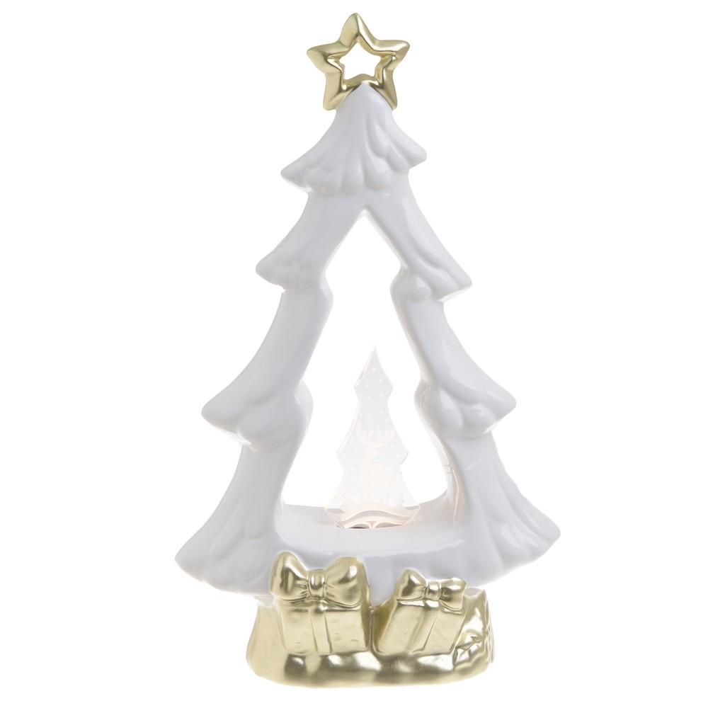 Vianočná keramická svetelná dekorácia v tvare stromčeka InArt Katie