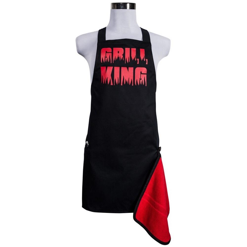 Šik v kuchyni pánska zástera s otváračom Grill King červená, 22,5 x 75 cm