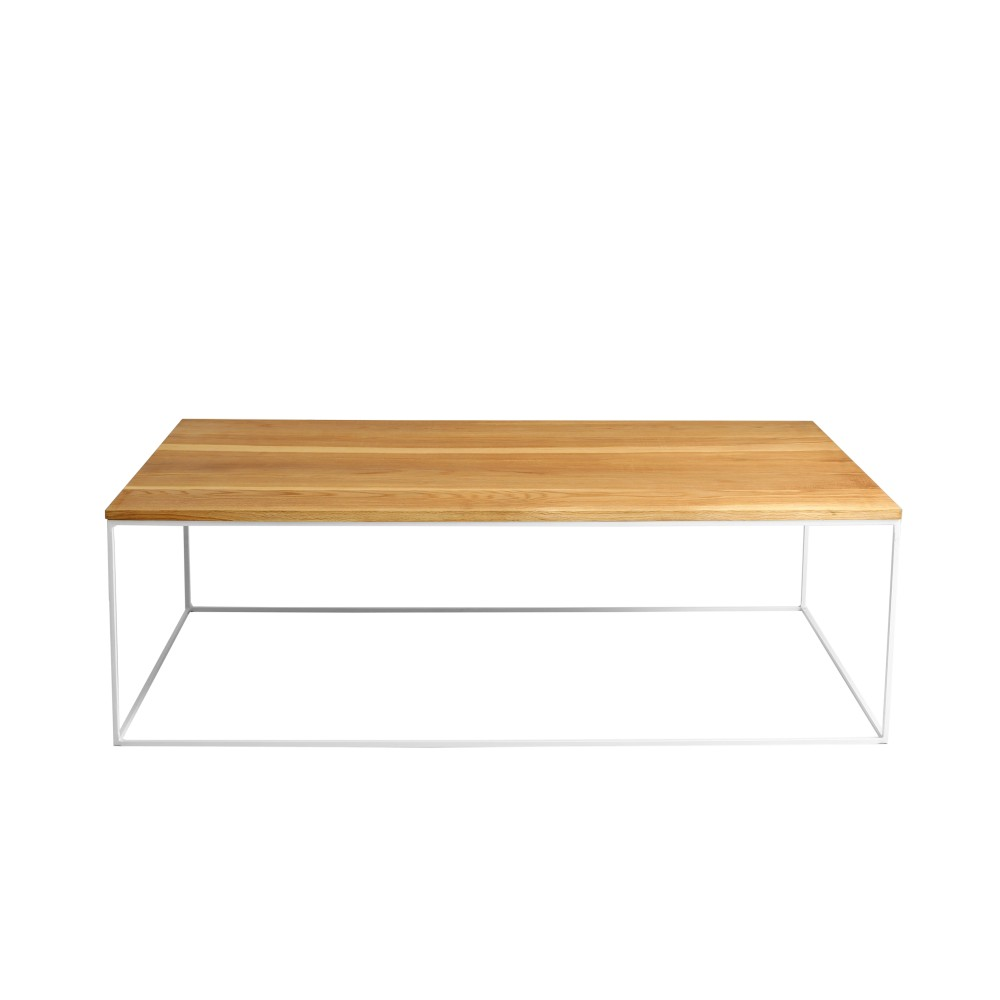 Konferenčný stolík s bielou podnožou a doskou z masívneho dubu Custom Form Tensio, šírka 140 cm