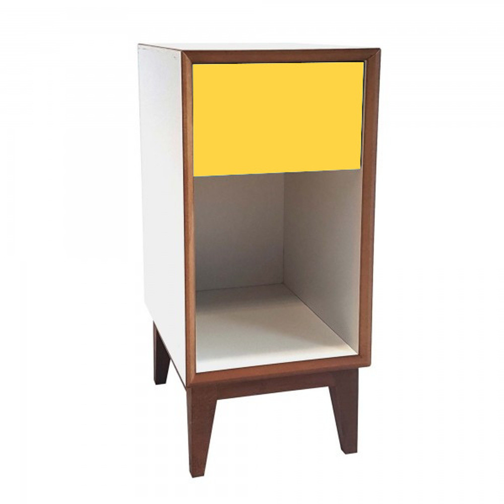 Malý nočný stolík s bielym rámoma žltou zásuvkou Ragaba PIX
