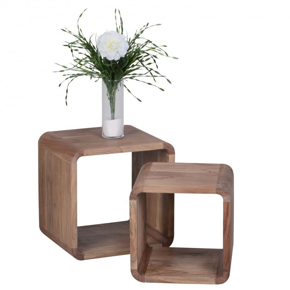 Sada 2 hnedých odkladacích stolíkov z masívneho akáciového dreva Skyport BOHA, 43 x 43 cm