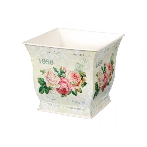 Plechový obal na kvetináč Kvety ruží, 18 x 16 x 18 cm