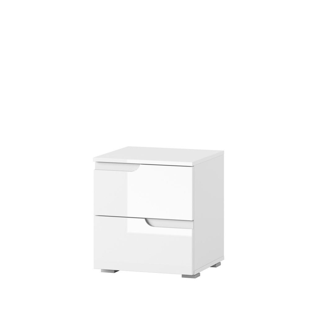 Biely nočný stolík s 2 zásuvkami Szynaka Meble Original