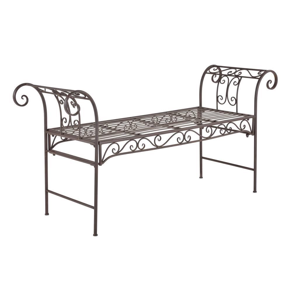 [casa.pro]® Kovová záhradná lavička - 70 x 147 x 46 cm - hnedá