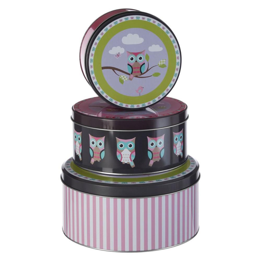 Sada 3 cínových úložných boxov Premier Housewares Happy Owls