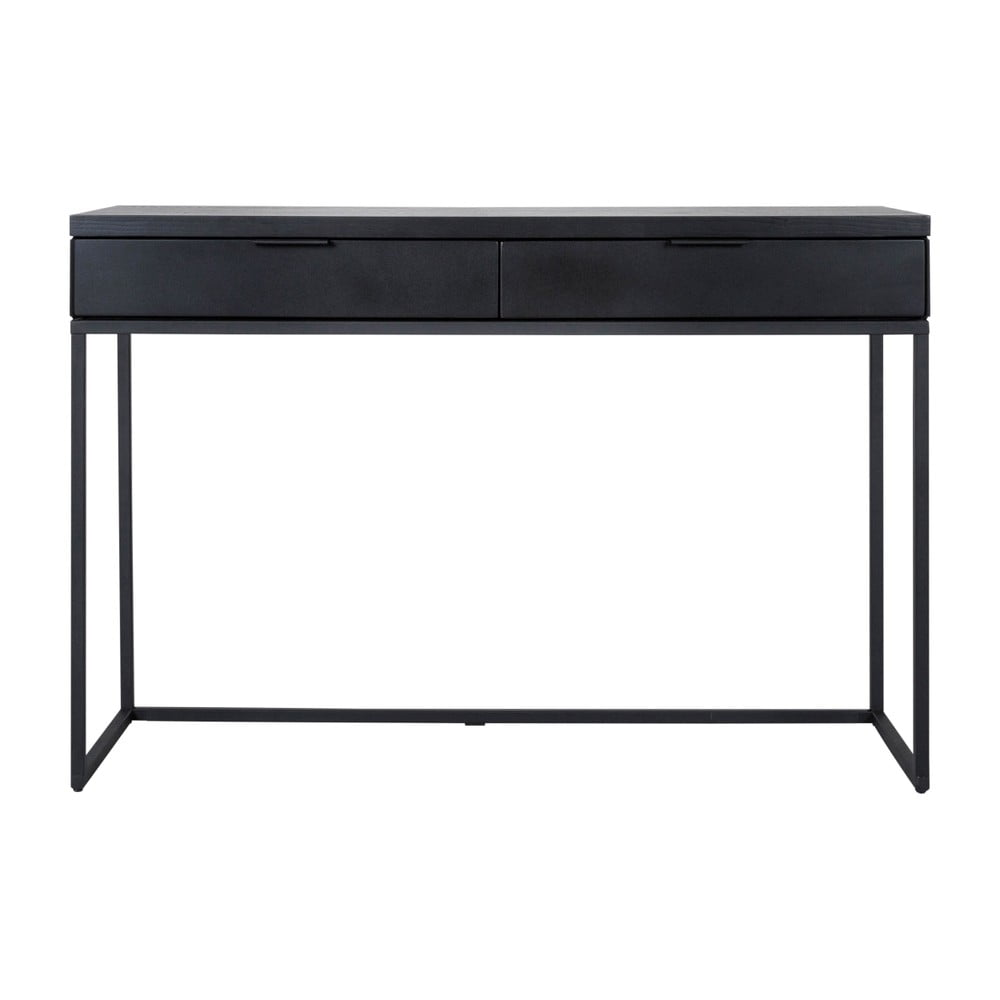 Čierny konzolový stolík s 2 zásuvkami Canett Cara, dĺžka 80 cm