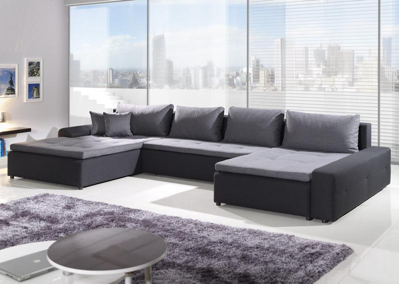 London Max, tvar U, šedá ekokoža/čierno-šedá tkanina