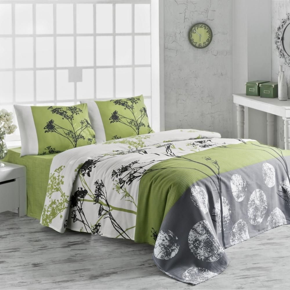 Ľahká prikrývka cez posteľ Belezza Green, 200x230cm