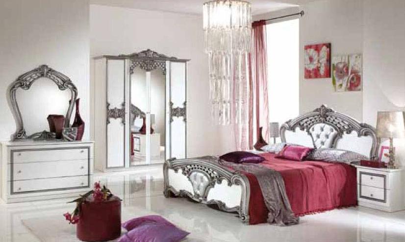 Štýlová talianska posteľ PAULINA 160 - biela/strieborná