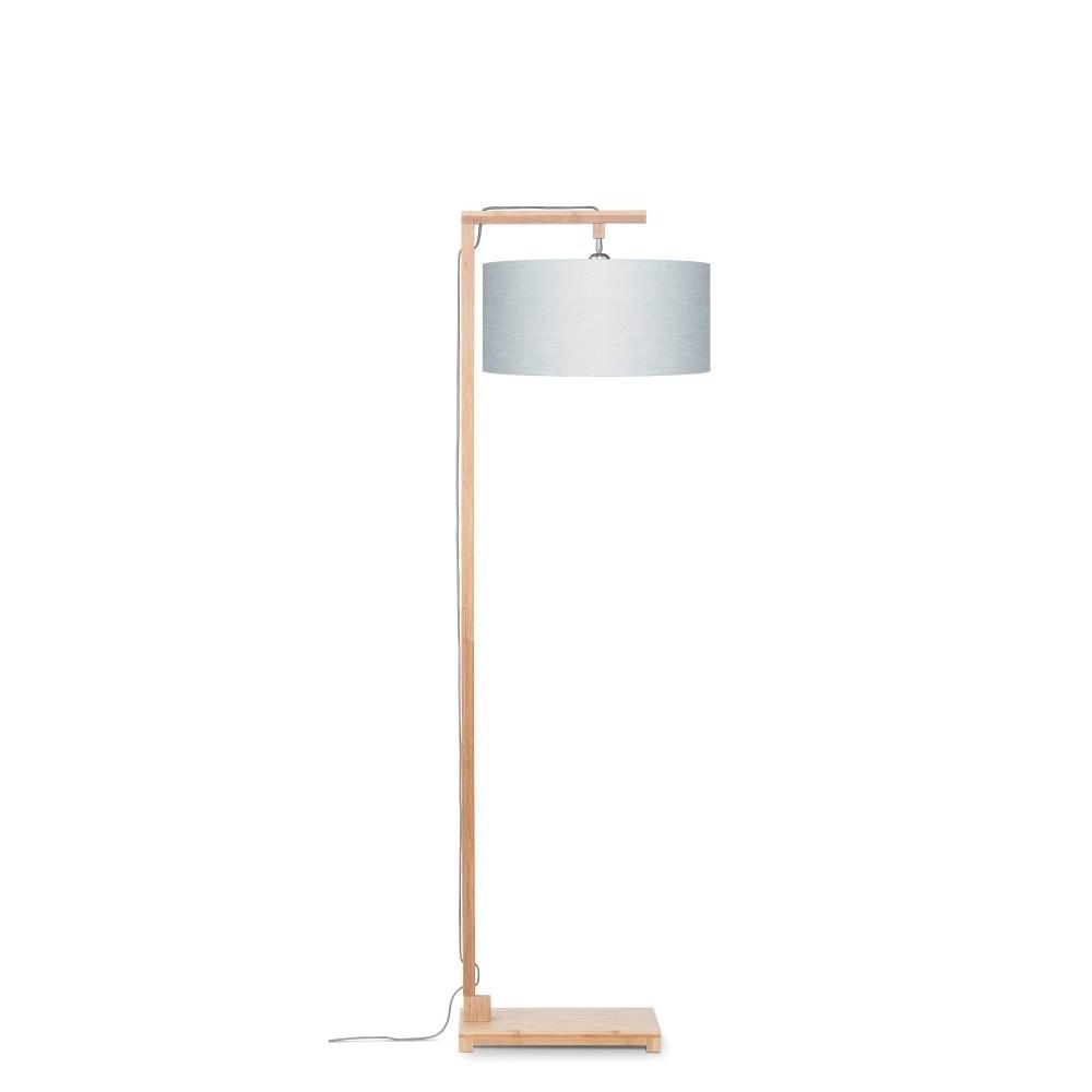 Stojacia lampa so svetlosivým tienidlom a konštrukciou z bambusu Good&Mojo Himalaya