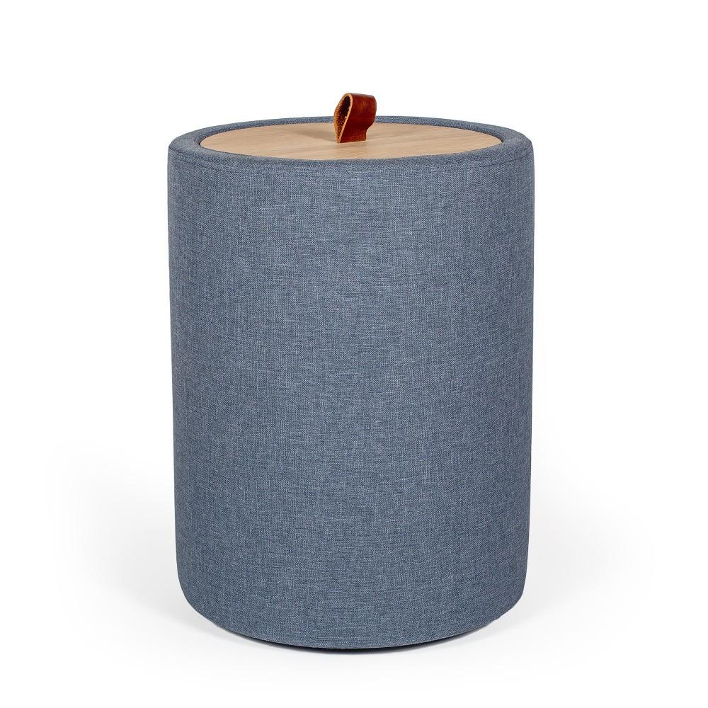 Odkladací stolík v denimovomodrej farbe s odnímateľnou doskou z dubového dreva Askala Ibisco, ⌀ 36 cm