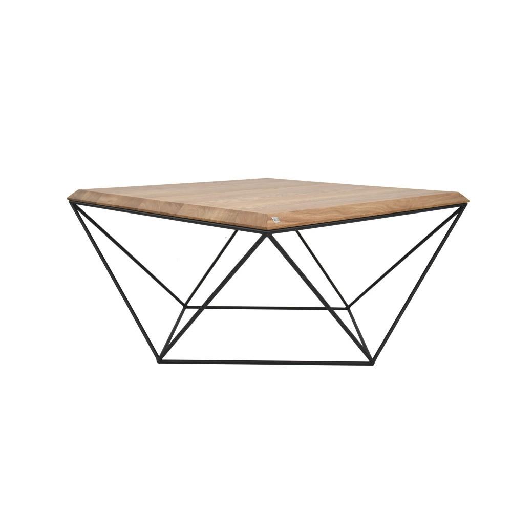 Čierny konferenčný stolík s doskou z dubového dreva Take Me HOME Tulip, 80×80cm