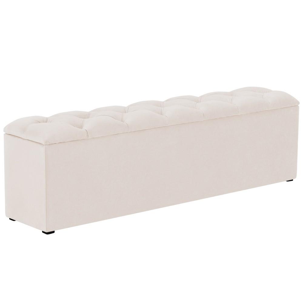 Béžový otoman k posteli s úložným priestorom Kooko Home Manna, 47 × 160 cm
