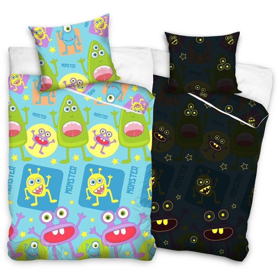 b3768e9e54674 Tip Trade Detské bavlnené svietiace obliečky Príšerky , 140 x 200 cm, 70 x  80
