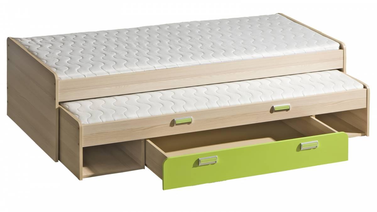 Rozkladacia posteľ 80 cm Ego L16 zelená (s dvomi matracmi a roštami)