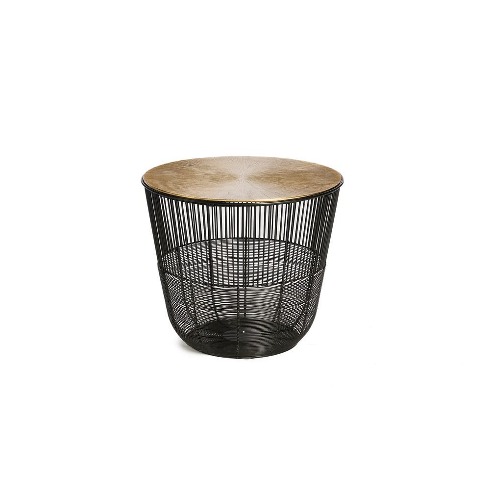 Príručný stolík vo čiernej farbe Simla Circle, ⌀ 38 cm