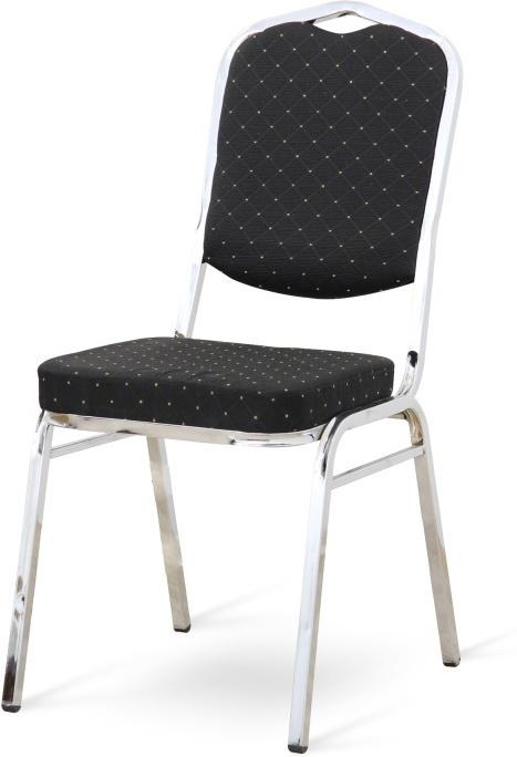 Stolička, stohovateľná, látka čierna/chrómový rám, LEJLA