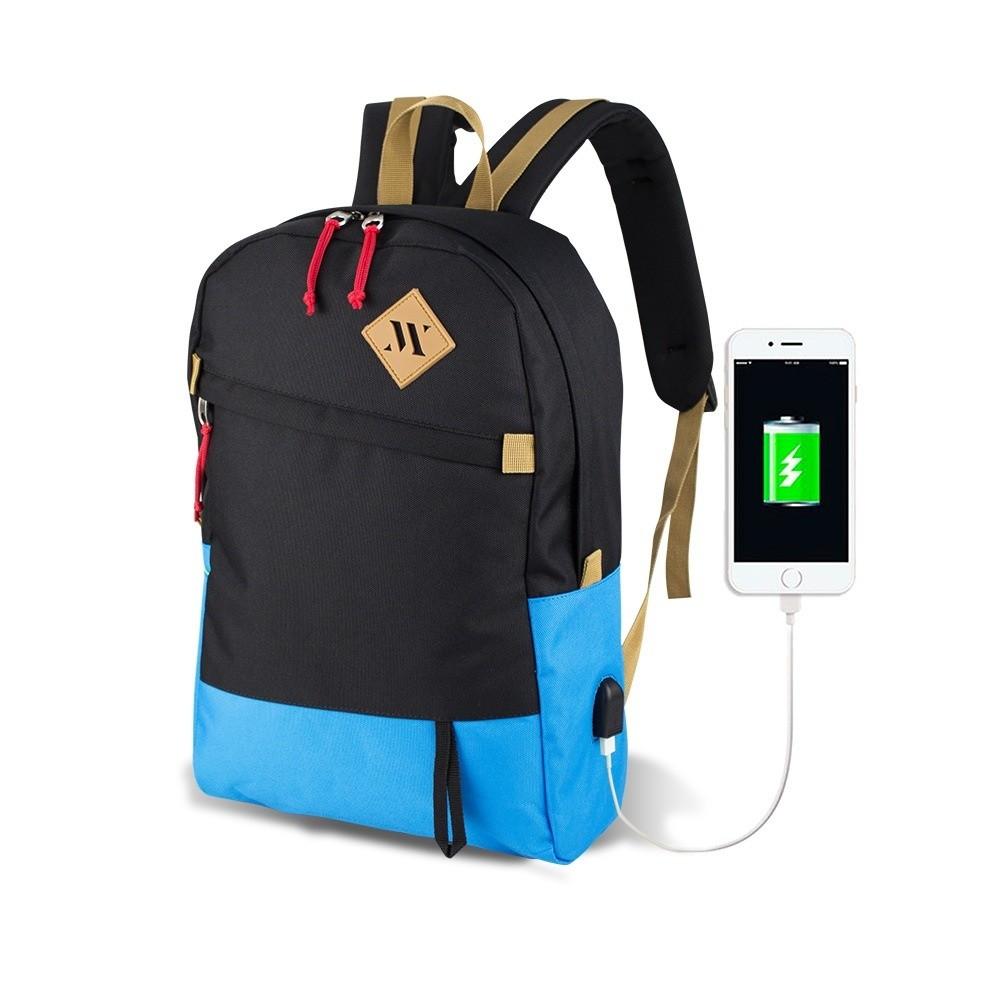 Čierno-tyrkysový batoh s USB portom My Valice FREEDOM Smart Bag
