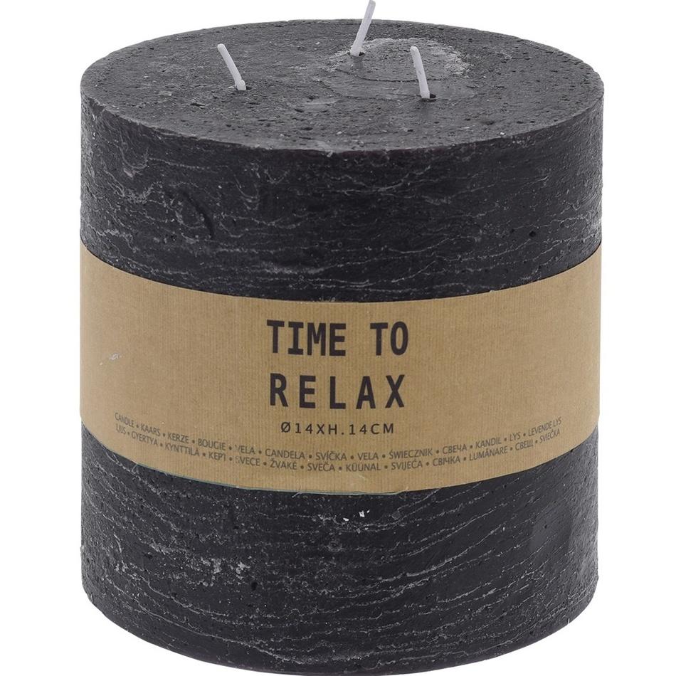 Dekoratívna sviečka Time to relax čierna, 14 cm