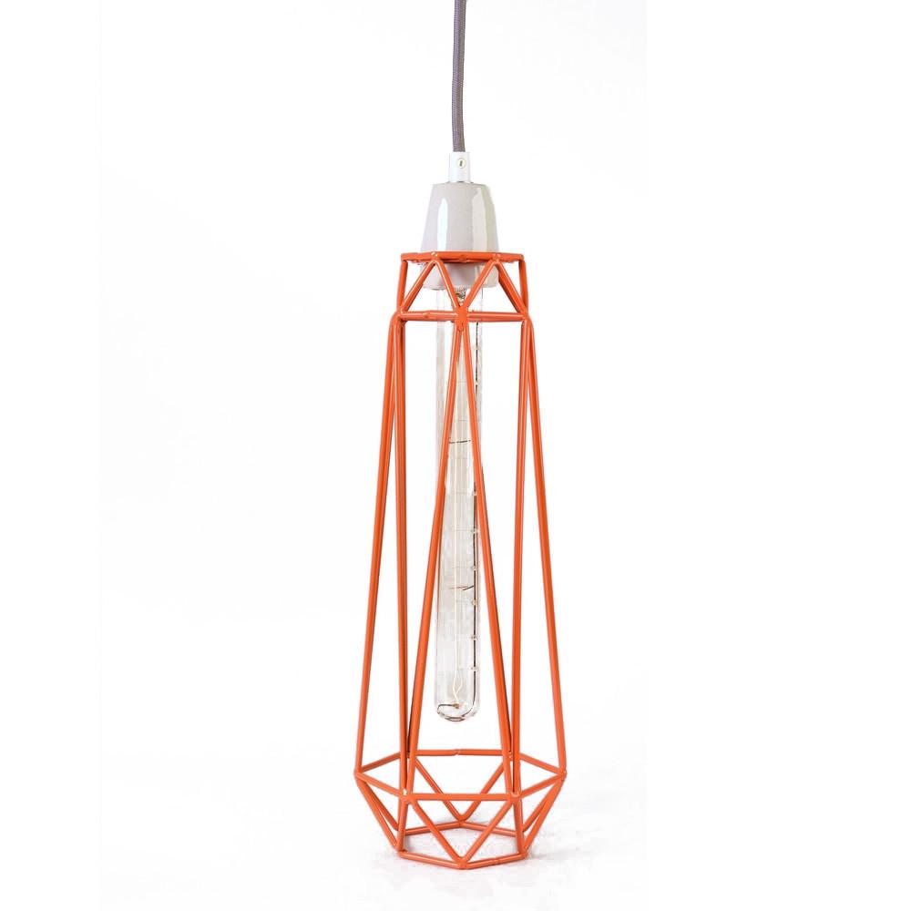 Závesné svetlo Diamond #2, oranžové tienidlo/sivý kábel