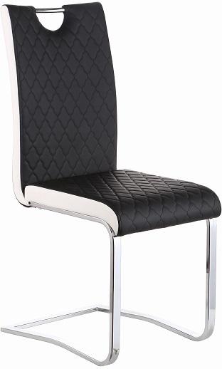 Jedálenská stolička, Chróm/Ekokoža, Čierna/Biela, IMANE