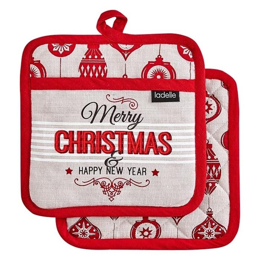 Sada 2 podložiek pod horúce nádoby s vianočným motívom Ladelle Merry Christmas