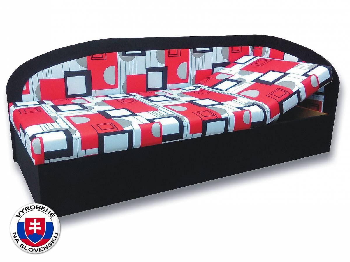 Jednolôžková posteľ (váľanda) 80 cm Kamila (Čierna 39 + Otawa 1a) (P)