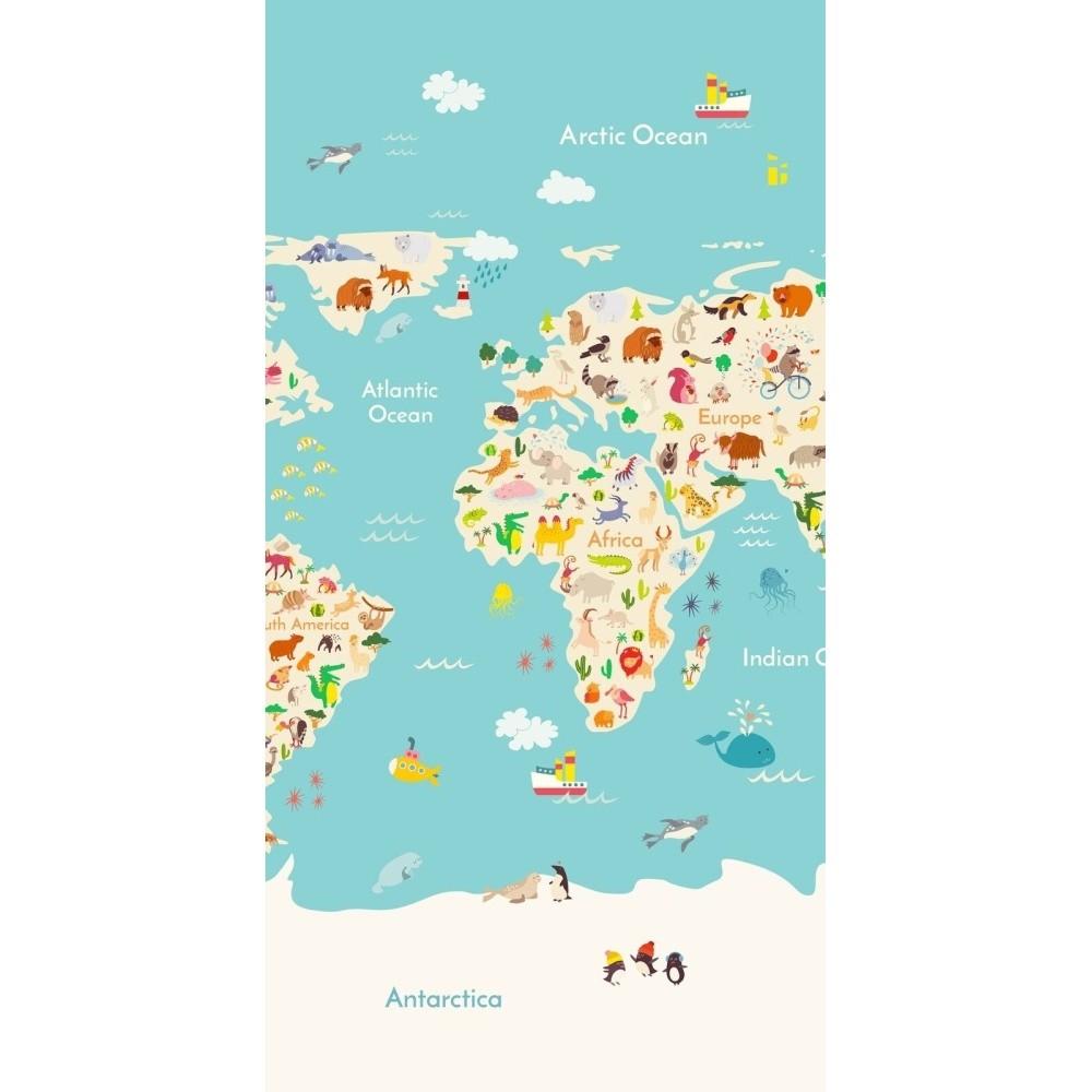 Plážová osuška s potlačou Good Morning Worldmap, 150 x 75 cm