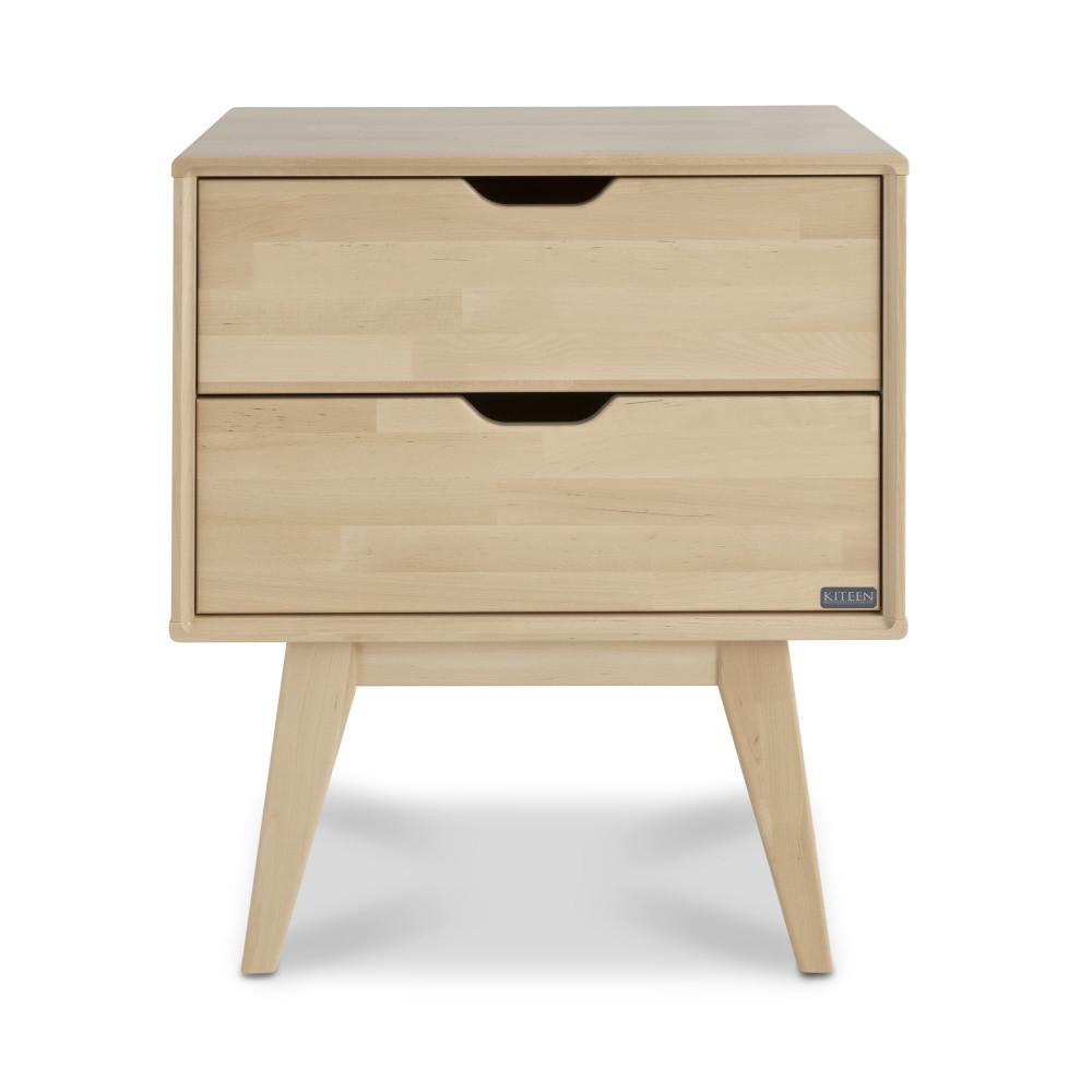 Ručne vyrobený nočný stolík s 2 zásuvkami z masívneho brezového dreva KiteenKolo