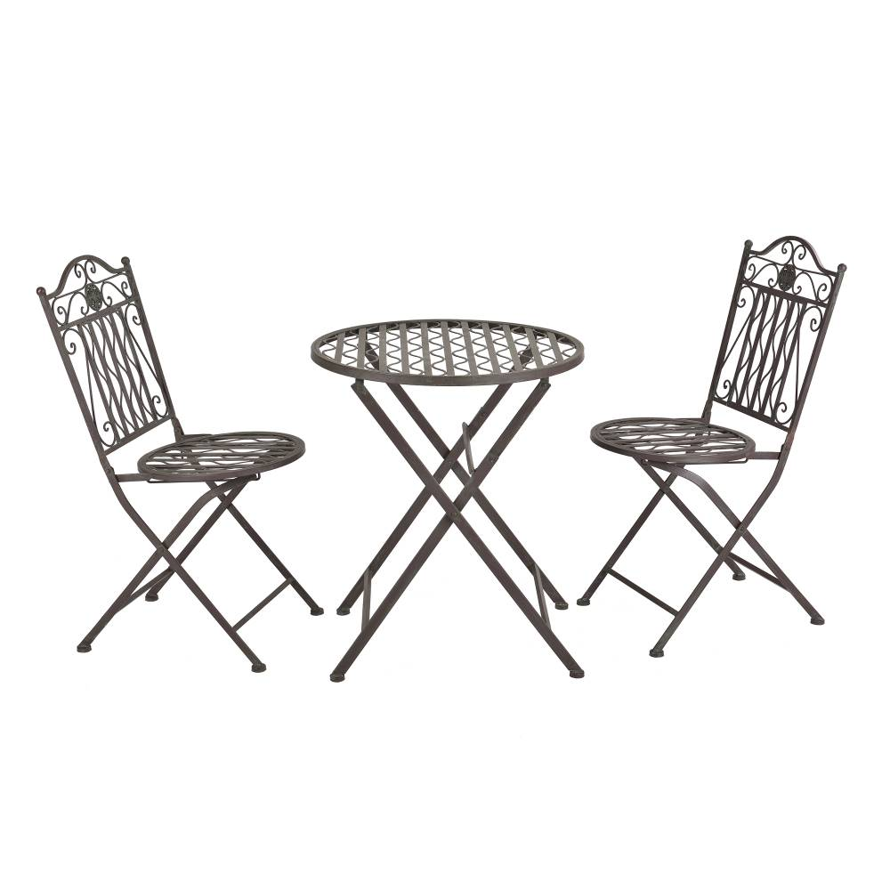 [casa.pro]® Bistro sada - okrúhly stôl + 2 stoličky - zelená