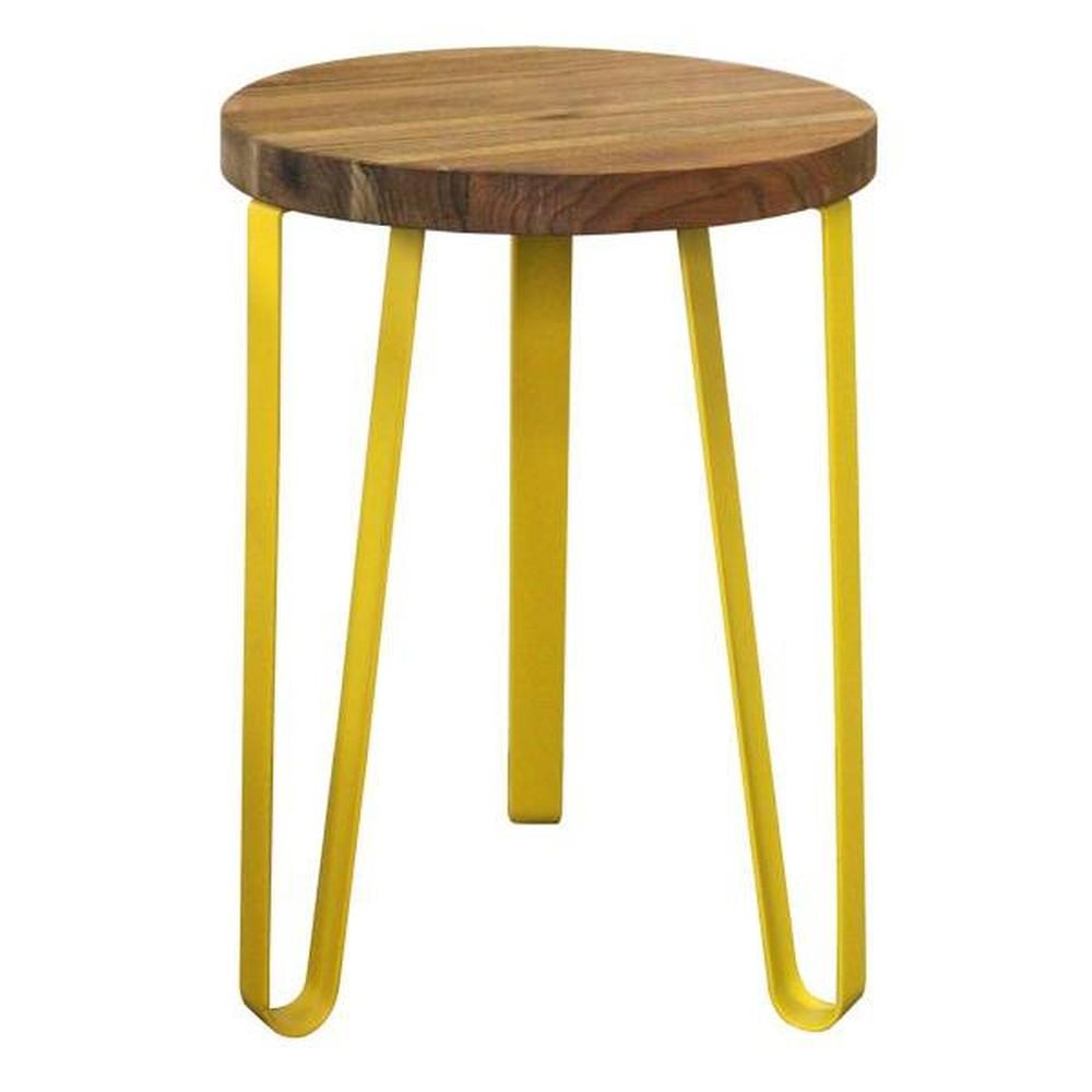 Sada 2 odkladacích stolíkov so žltými nohami z elmového dreva Red Cartel Sparkle