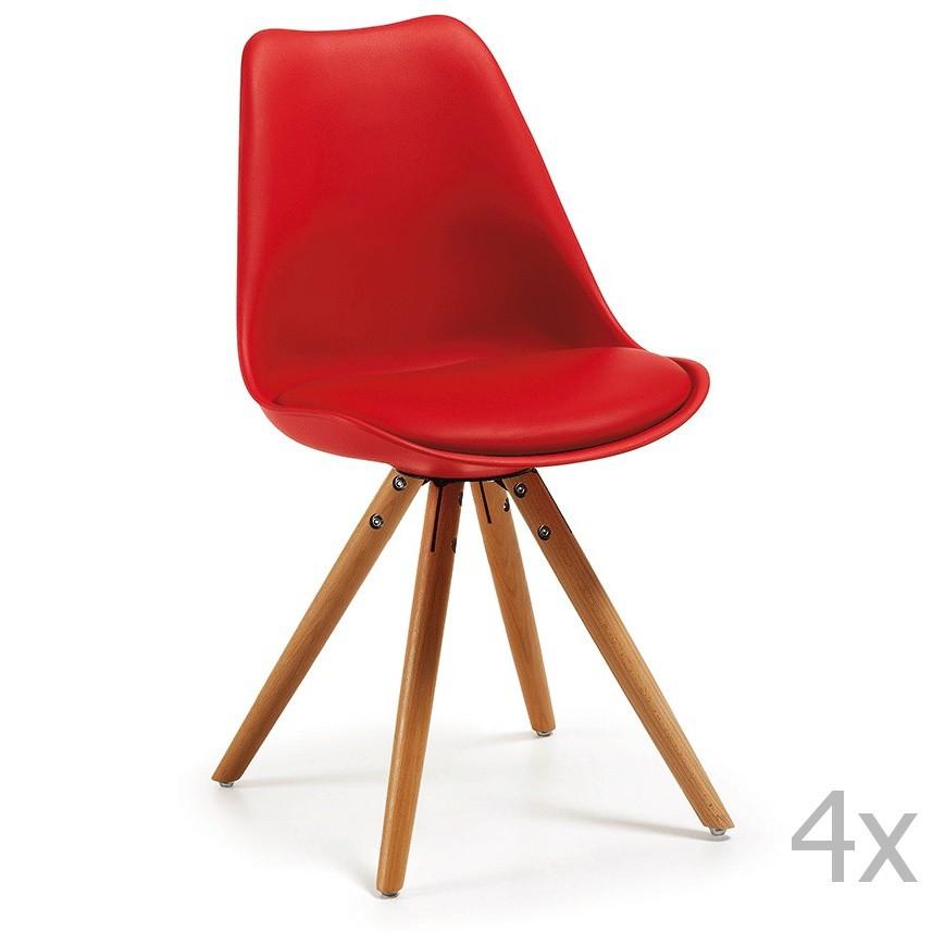 Sada 4 červených jedálenských stoličiek s dreveným podnožím La Forma Lars
