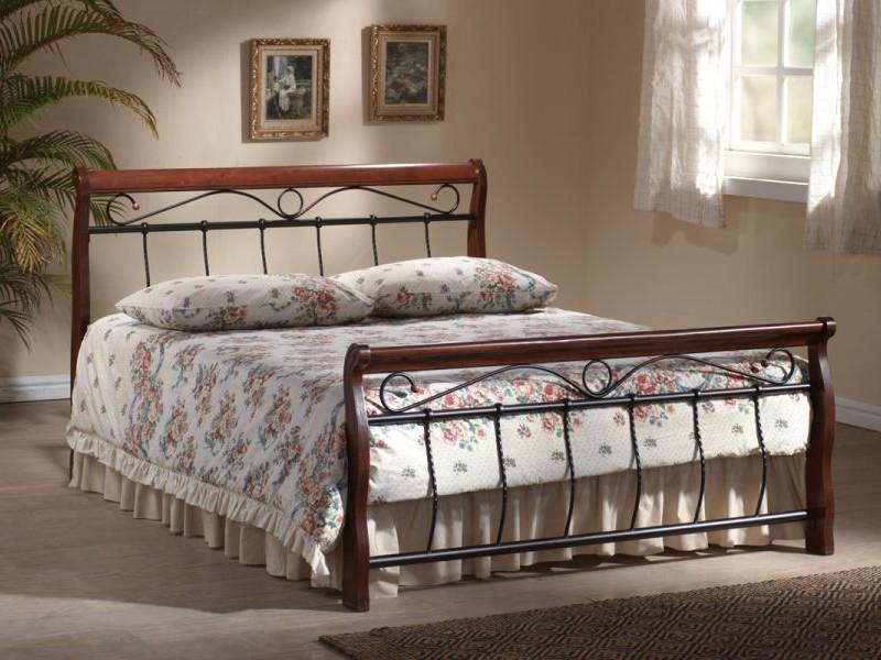 BENÁTKY posteľ 120x200 cm, antická čerešňa/čierna