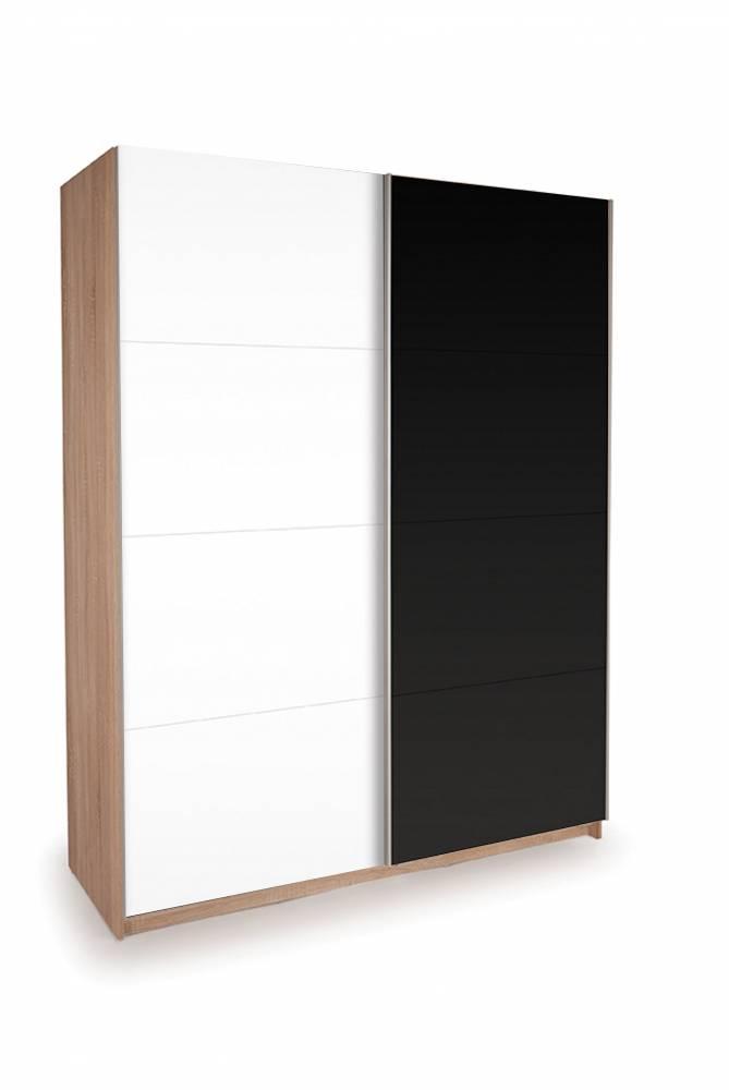 Skriňa EKO PLUS ST11 dub sonoma + biela/čierna lesklá 150