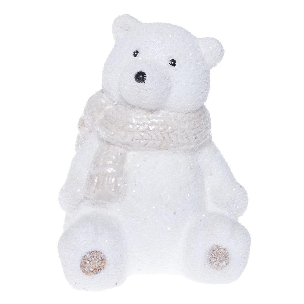 Biela keramická dekoratívna soška Ewax Polar Bear, výška 14 cm