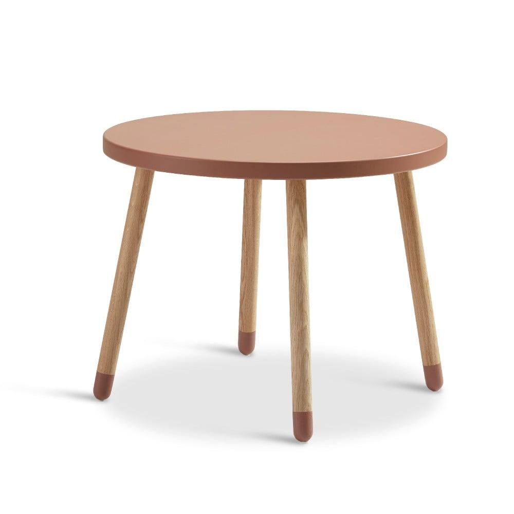 Ružový detský stolík Flexa Play, ø 60 cm