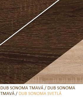 Šatníková skriňa NOTTI 07   Farba: Dub sonoma tmavá / dub sonoma tmavá / dub sonoma svetlá