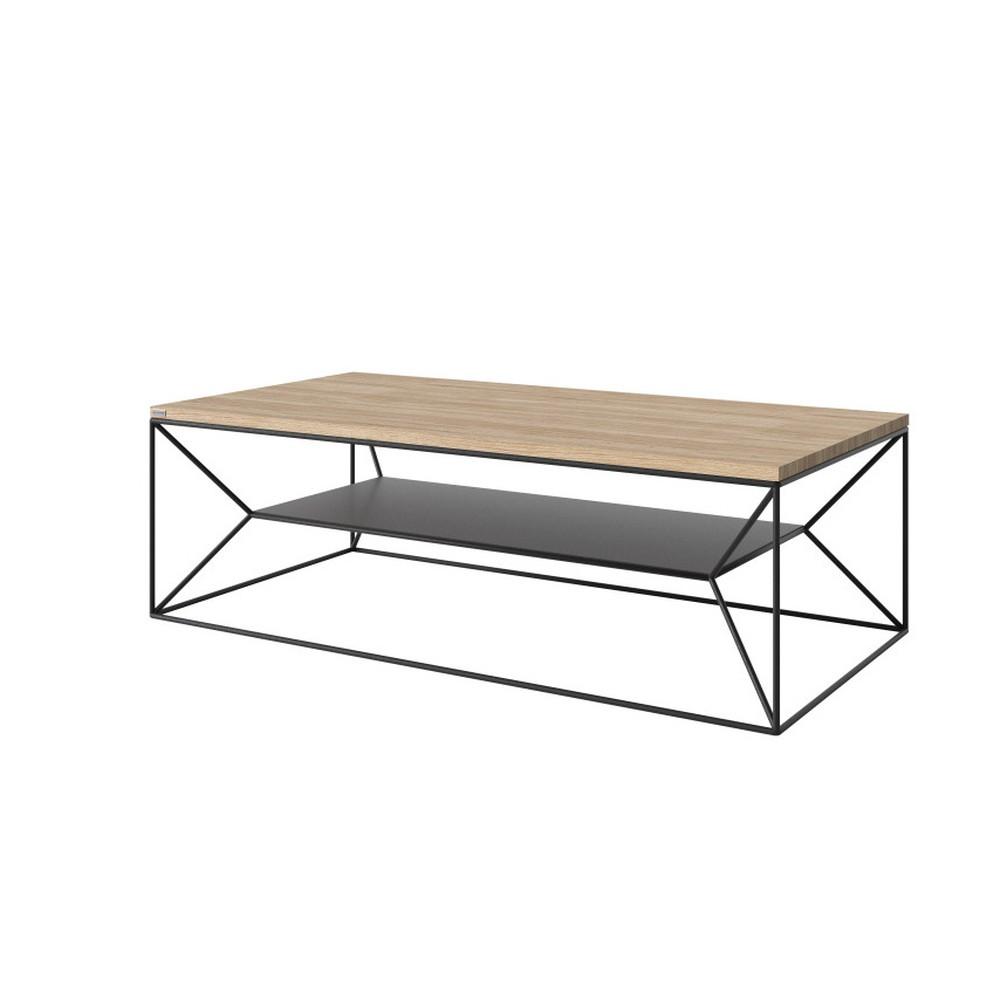Čierny TV stolík s doskou z dubového dreva Take Me HOME, 120×60cm