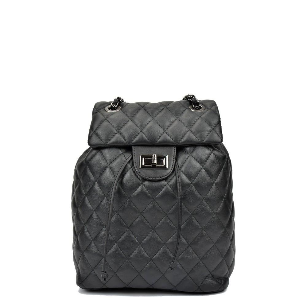 Čierny kožený batoh Anna Luchini Caterine