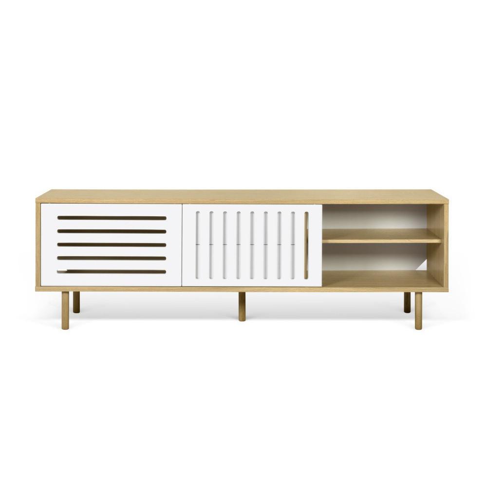 TV komoda v dekore dubového dreva s bielymi detailmi TemaHome Dann Stripes, dĺžka 201 cm