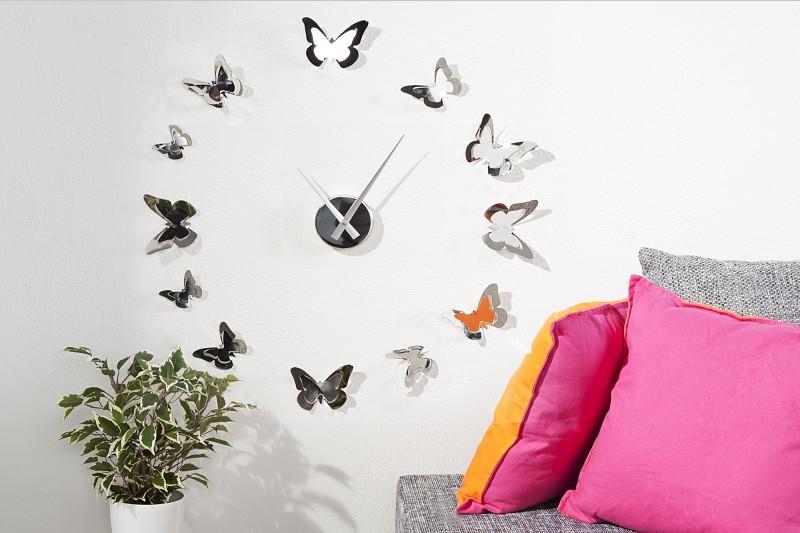 Nástenné hodiny BUTTERFLIES - strieborná