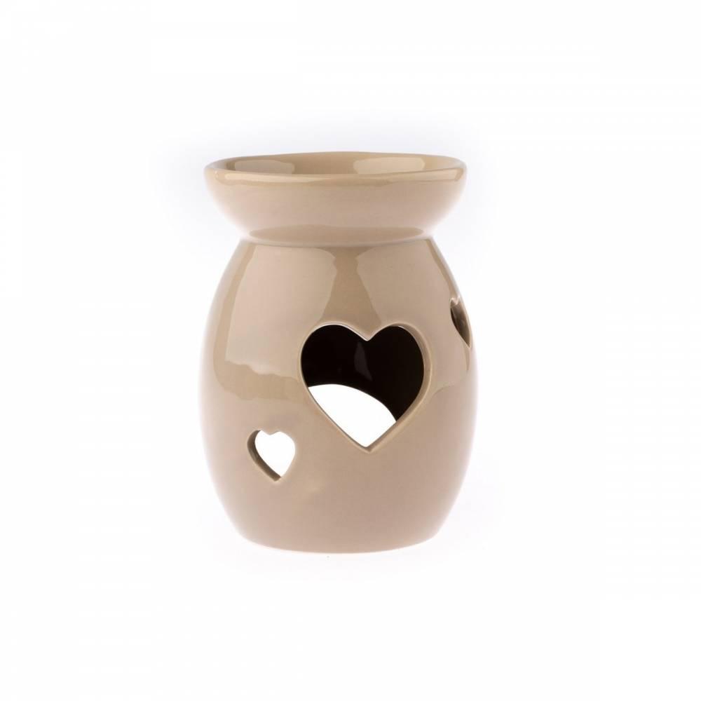 Keramická aromalampa Srdce, hnedá