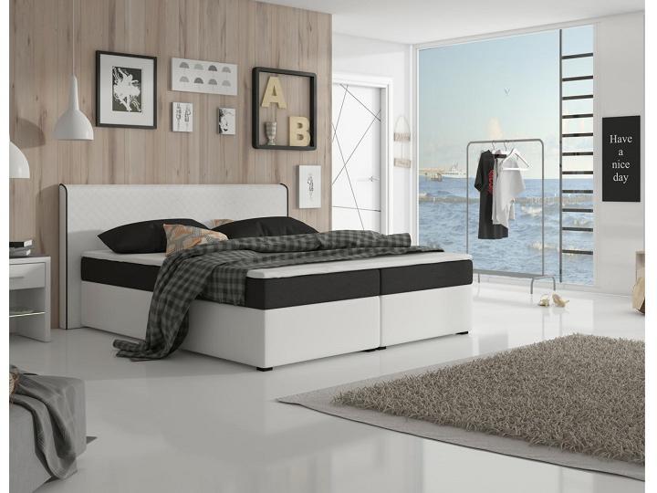 Manželská posteľ Boxspring 180 cm Novara Megakomfort Visco (biela + čierna) (s matracom a roštom)