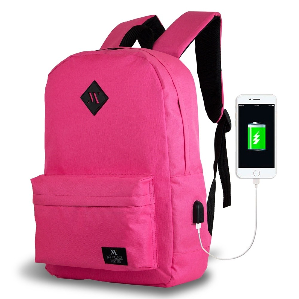 Ružový batoh s USB portom My Valice SPECTA Smart Bag