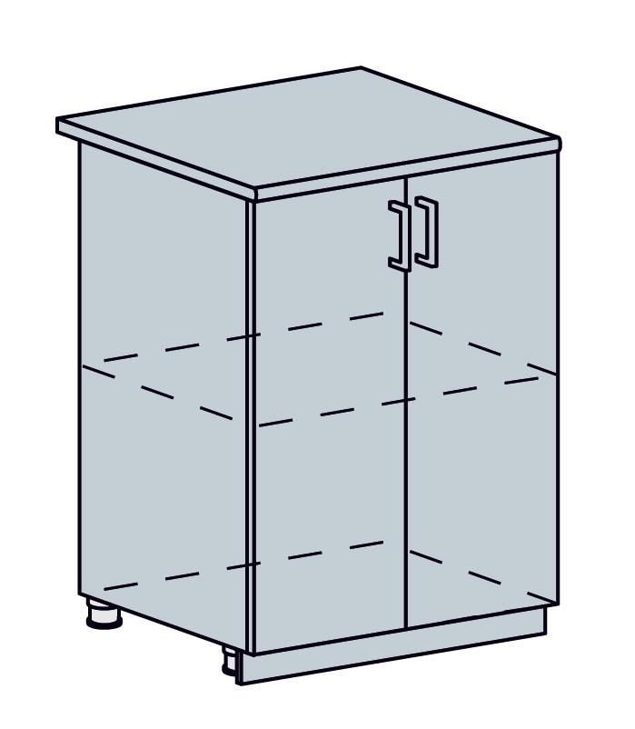 VALENCIA dolná skrinka 2-dverová 60D, biela/čierny dážď