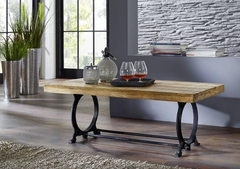 INDUSTRIAL konferenčný stolík #35, liatina a staré drevo