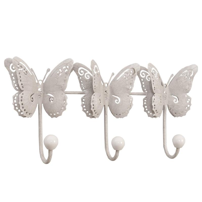 Kovový nástenný vešiak biely Motýle, Clayre & Eff, 23cm