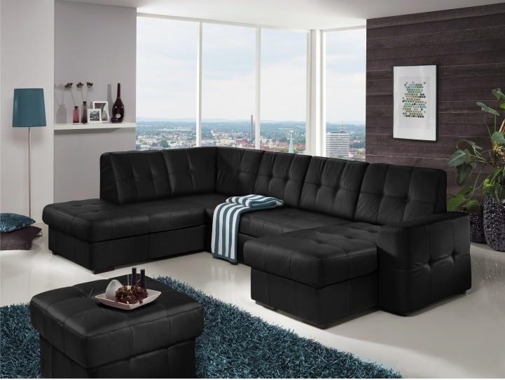 Rozkladacia rohová sedacia súprava v tvare U s úložným priestorom, L prevedenie, koža čierna YAK M6900, TREK SYSTÉM U | Tempo Kondela